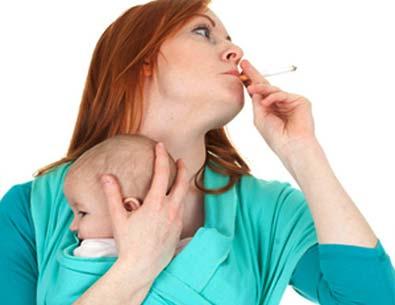 Курение во время грудного кормления очень вредит здоровью ребенка